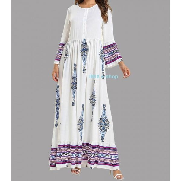 Dlouhé Abaya etnické šaty s orientálním vzorem