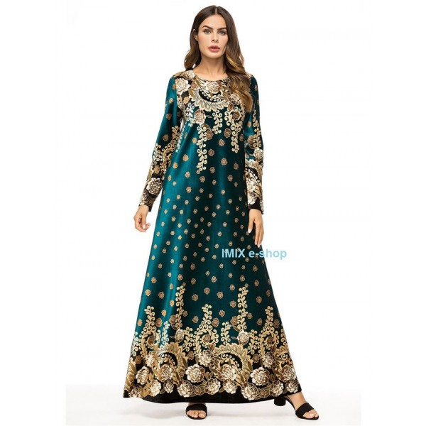 Orientální dlouhé šaty Abaya DUBAJ zelené