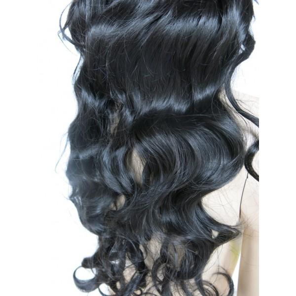 Paruka s extra dlouhými polovlnitými černými vlasy