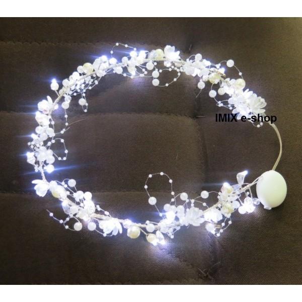 LED osvětlená perlová čelenka s funkcemi