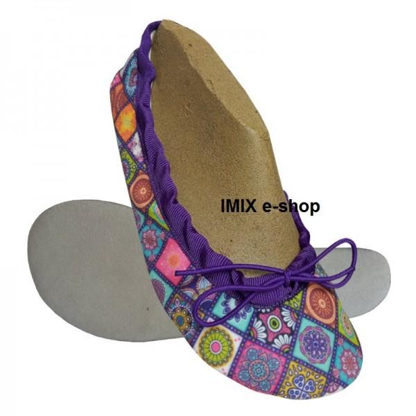 Barefoot cvičky s širokou špičkou ORIENT MOZAIKA - zavazovací