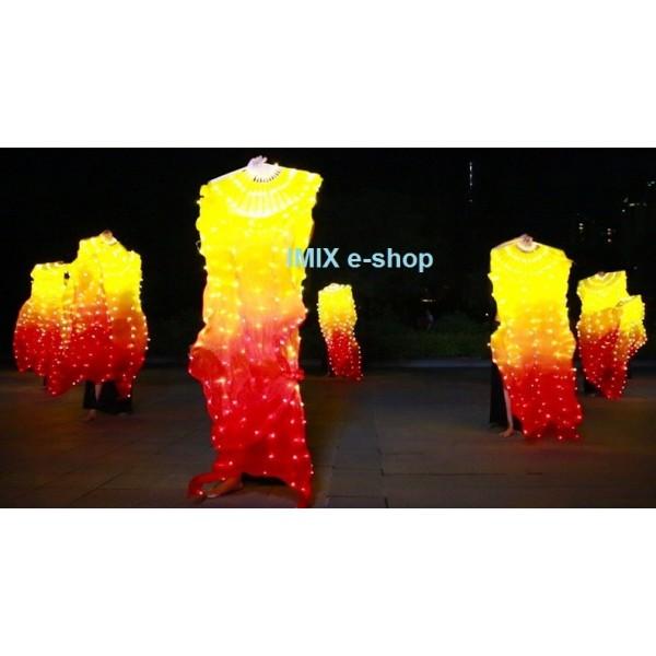 Dobíjecí LED hedvábné vějíře - ČERVENO-ŽLUTÁ