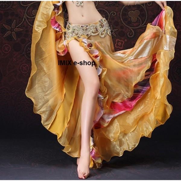 Luxusní sukně LEILA zlatá s odlesky a volány