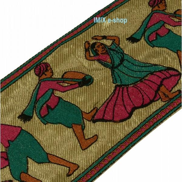 Vyšívaná borta, indický vyšívaný pás s tanečnicí č.10