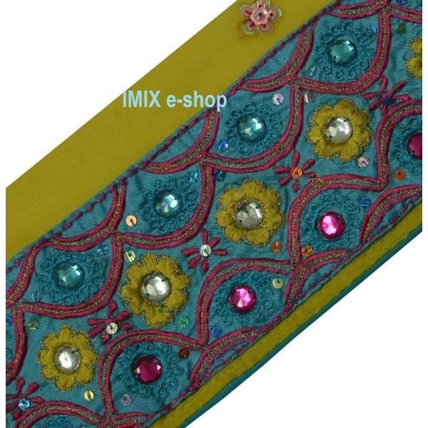 Vyšívaná borta, indický pás zdobený korálky č.11