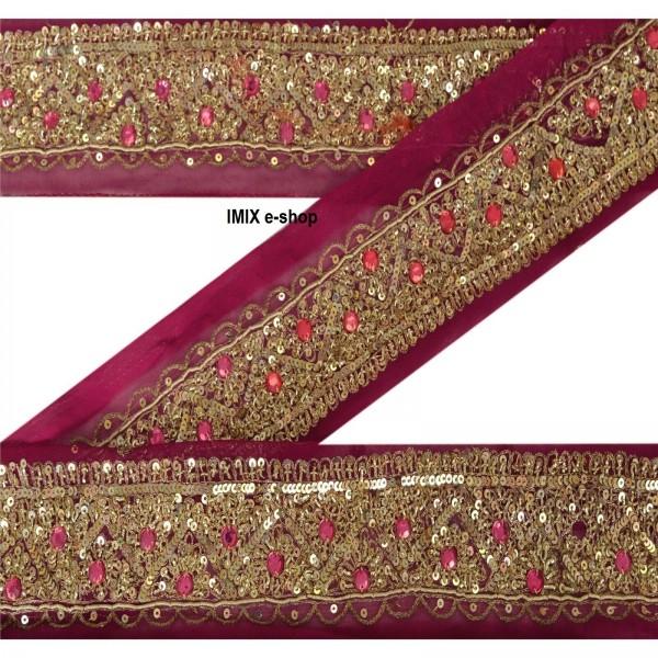 Vyšívaná borta, indický pás zdobený korálky č.14