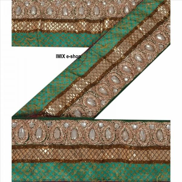 Vyšívaná borta, indický pás zdobený korálky č.15