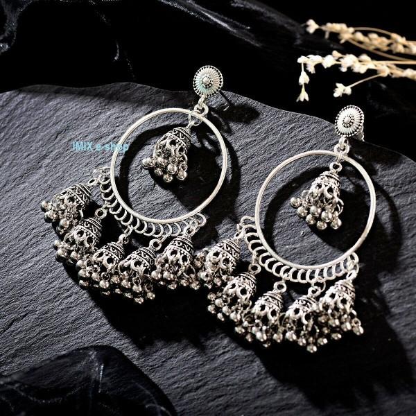 Velké Bollywood náušnice kruhy se zvonečky