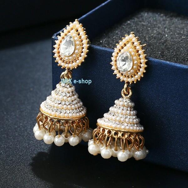 Náušnice perlové se zirkony Bollywood
