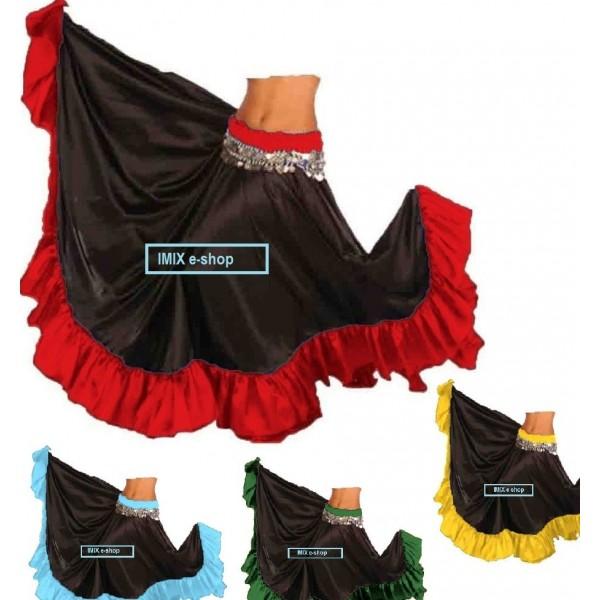 Saténová sukně MIRA s barevným lemem - na míru