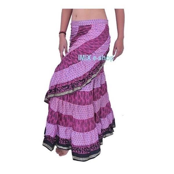 Gypsy zavinovací široká hedvábná sukně