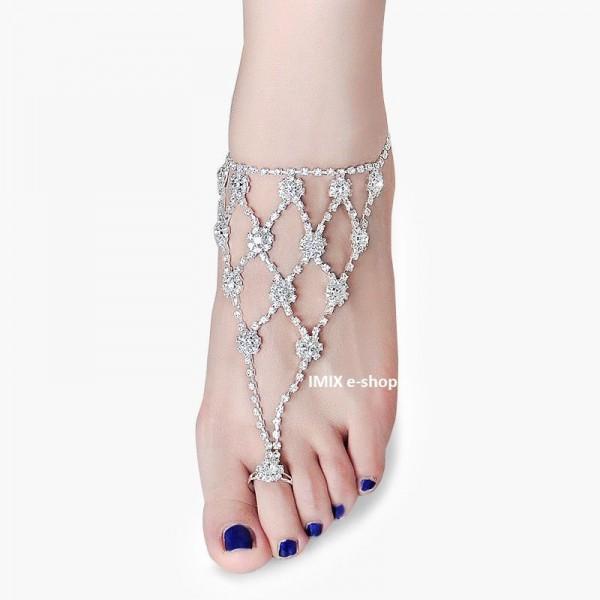 Štrasová ozdoba na nohu s prstýnkem č.01