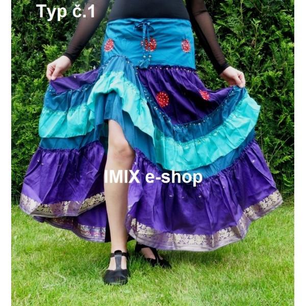 Hedvábná sukně volánová s kanýrem a stahovačkou