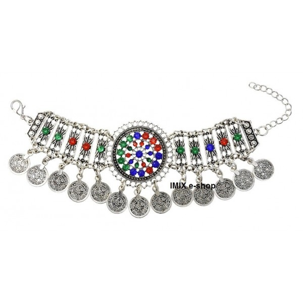 Tribal kovový náhrdelník s korálky stříbrný s patinou