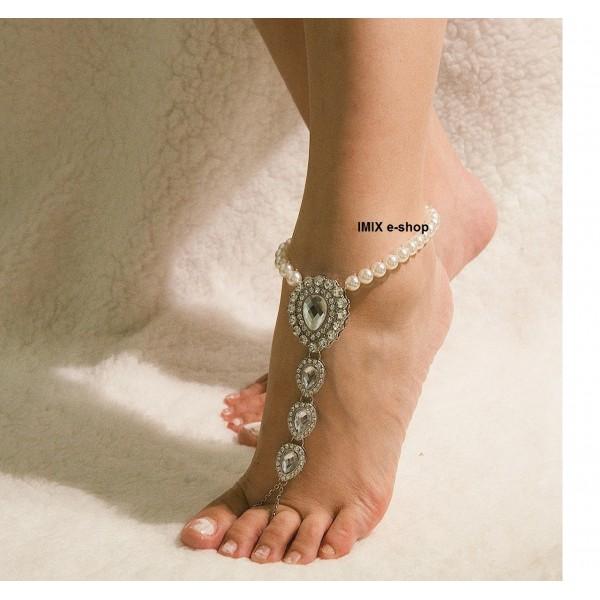 Luxusní ozdoba na kotník s velkými broušenými kameny