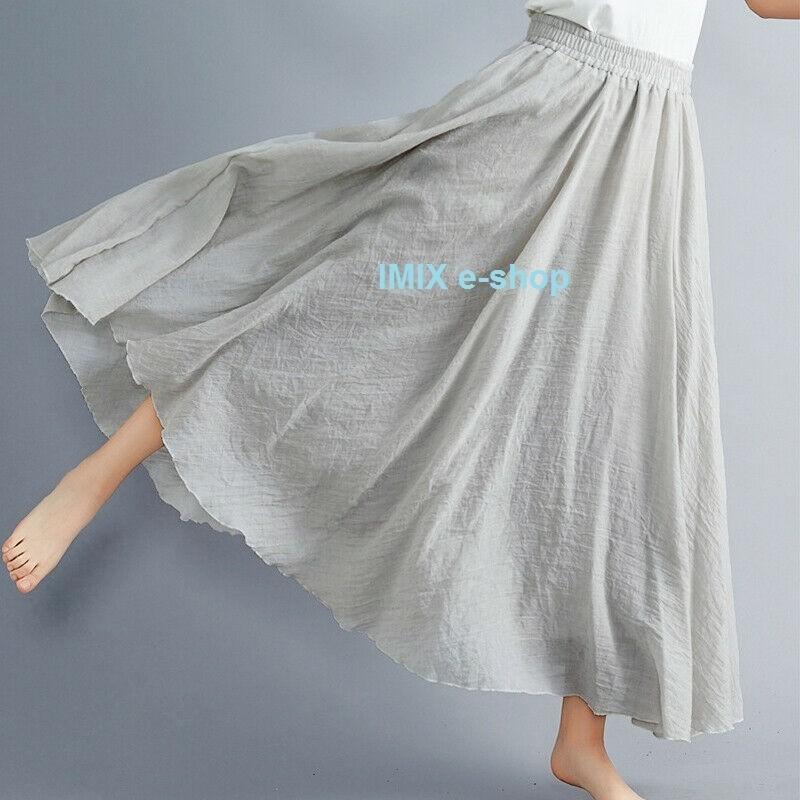 Přírodní dlouhá lněná etno široká letní sukně LILIEN