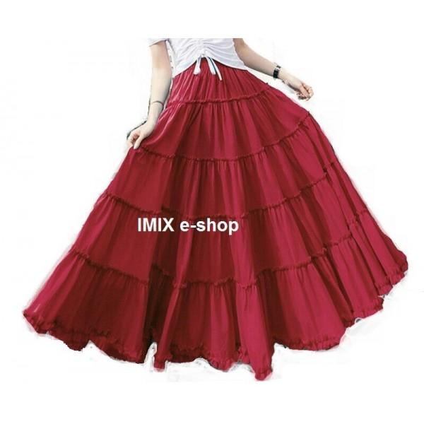 Bavlněná Etno široká letní sukně Valeria