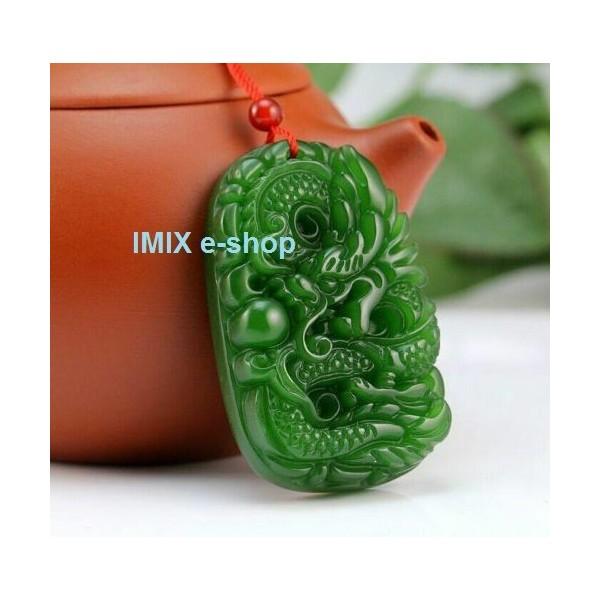 Přírodní Nefrit Jadeit přívěšek drak Feng Shui