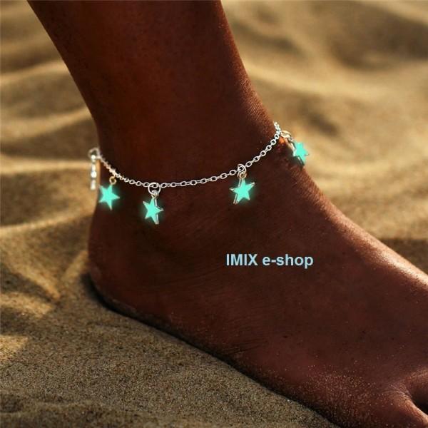 Svítící náramek na kotník - hvězdy