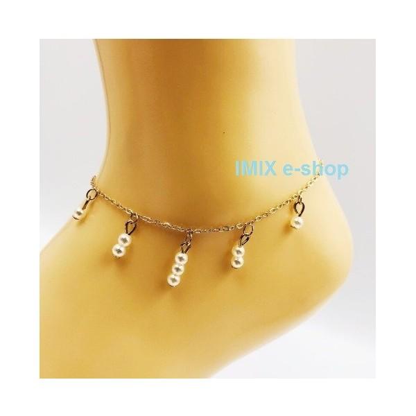 Zlatý náramek na kotník s visícími perlami