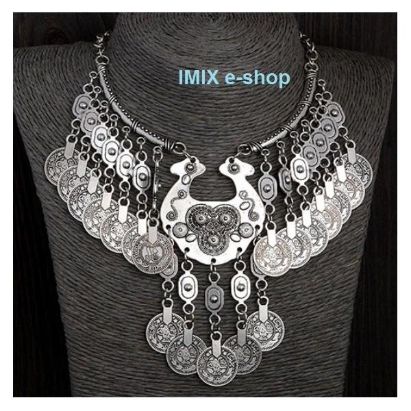 Turecký náhrdelník staro-stříbrný s patinou