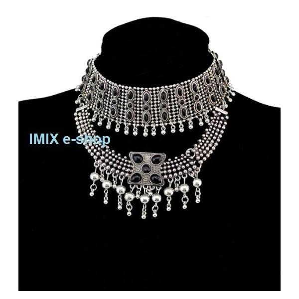 Tribal kovový náhrdelník Zlatý / Stříbrný