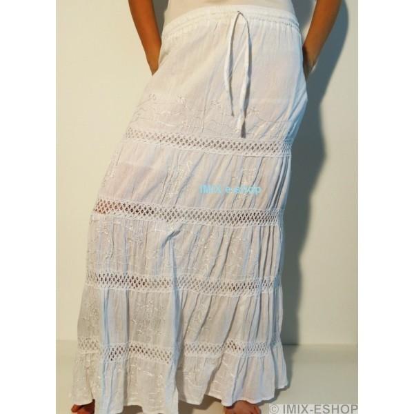 DOPRODEJ - Etno sukně bavlněná bílá - II.jakost