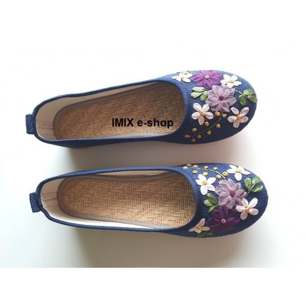 DOPRODEJ - Baleríny květinové lněné modré