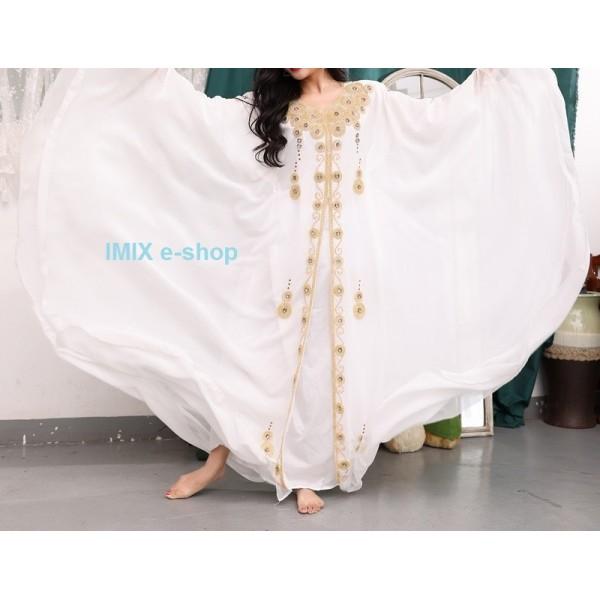 Orientální šaty Abaya Khaleeji bílé se zlatou výšivkou