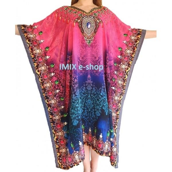 Pestrobarevný Kaftan, zdobené orientální šaty č.01