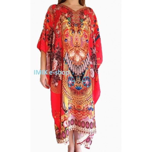Pestrobarevný Kaftan, zdobené orientální šaty č.02