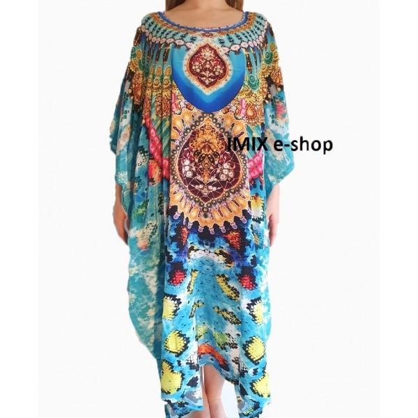 Pestrobarevný Kaftan, zdobené orientální šaty č.03
