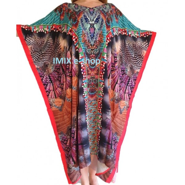 Pestrobarevný Kaftan, zdobené orientální šaty č.04