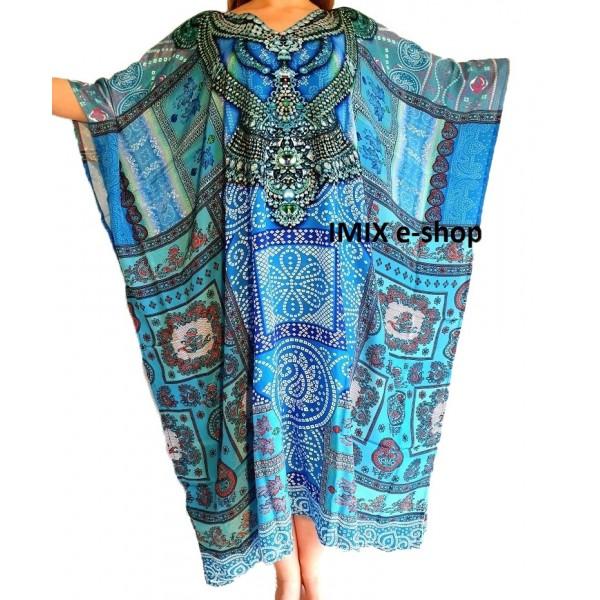 Pestrobarevný Kaftan, zdobené orientální šaty č.05
