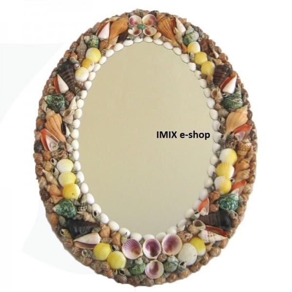 Velké zrcadlo zdobené mušličkami - ovál