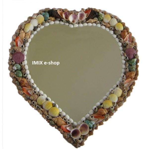 Velké zrcadlo zdobené mušličkami - srdce