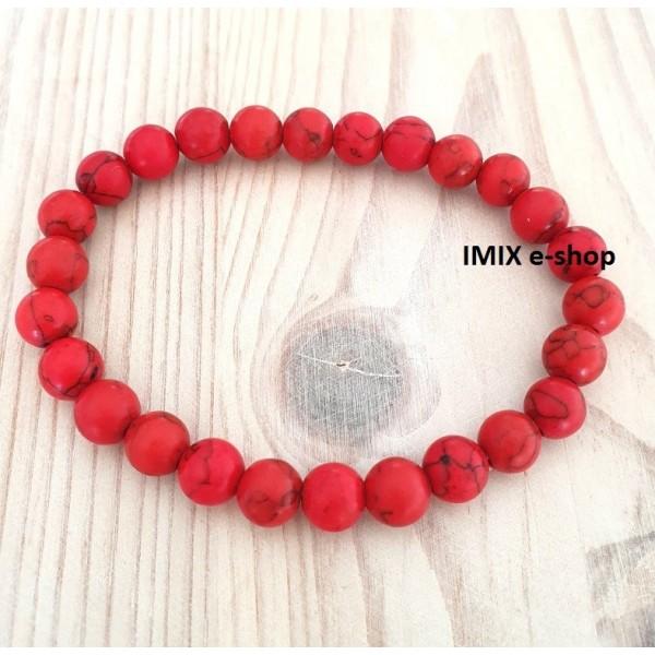 Náramek z minerálu Červený Howlit kuličky