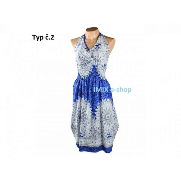 Letní šaty na široká ramínka se vzorem - VÍCE BAREV