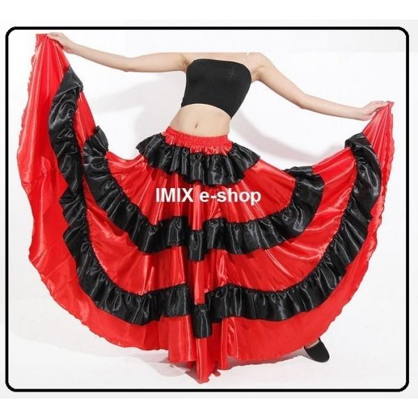 Flamenco Orient saténová sukně s volány Iris