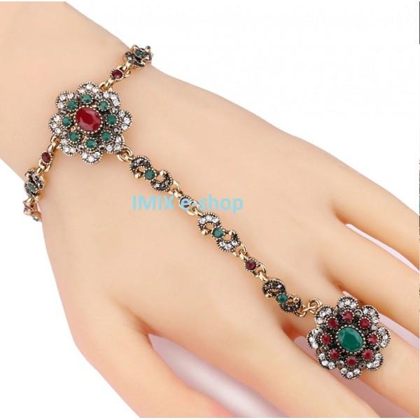 Orientální Bollywood náramek s prstýnkem zdobený ASIRA