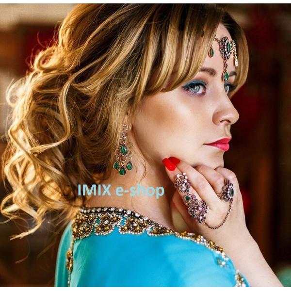 Bollywood orientální kovový trojitý prsten Asira