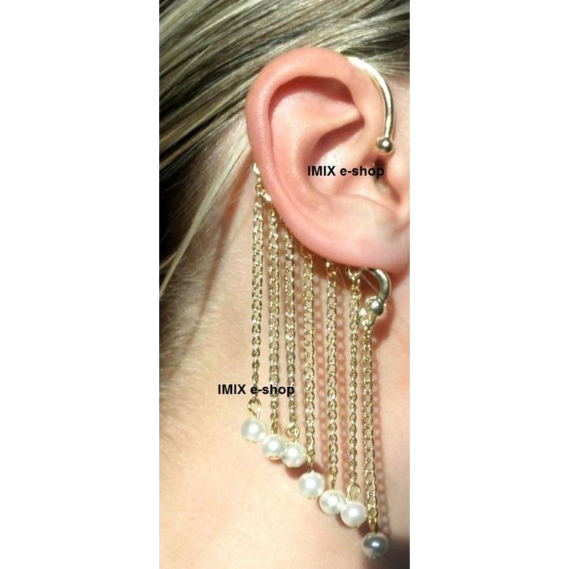Náušnice řetízková s perlami č.TN003
